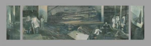 """Der erste Entwurf von """"Aufrecht Stehen"""" wurde 2007 im Hotel Leipziger Hof der Öffentlichkeit präsentiert. Er hängt dauerhaft im Erich-Loest-Haus in Mittweida."""