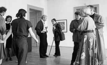 Galerie am Sachsenplatz Leipzig, 1991. Dr. Rainer Cordes und Prof. Evelyn Richter (Bildmitte v. l.)